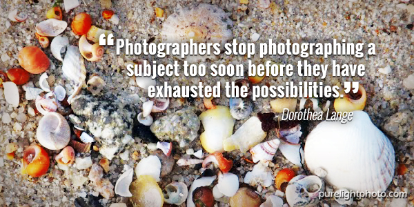 """Photographers stop photographing a subject too soon before they have exhausted the possibilities."" - Dorothea Lange"